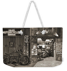 Outside The Old Motorcycle Shop - Spia Weekender Tote Bag
