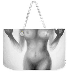 Weekender Tote Bag featuring the painting Outsider Series - Trapped Behind The Glass by Lilia D