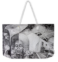 Weekender Tote Bag featuring the drawing Outskirts Of Necropolis by Otto Rapp