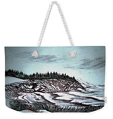 Weekender Tote Bag featuring the drawing Oven's Park Nova Scotia by Janice Rae Pariza