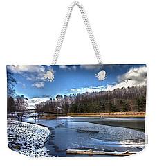 Weekender Tote Bag featuring the photograph Over Da River N Thru Da Woods by Robert McCubbin
