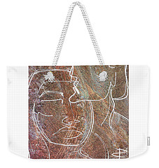 Weekender Tote Bag featuring the drawing Overlaps II by Paul Davenport