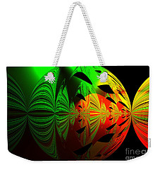 Art. Unigue Design.  Abstract Green Red And Black Weekender Tote Bag