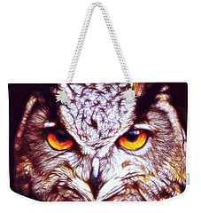 Weekender Tote Bag featuring the digital art Owl - Fractal by Lilia D