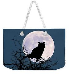 Owl And Blue Moon Weekender Tote Bag