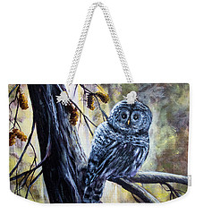 Weekender Tote Bag featuring the painting Owl by Bozena Zajaczkowska
