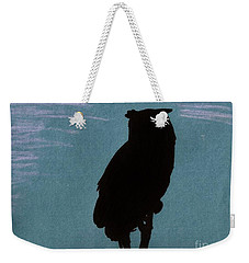 Weekender Tote Bag featuring the drawing Owl Silhouette by D Hackett