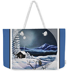 Owl Watch On A Cold Winter's Night In The Round  Weekender Tote Bag by Kimberlee Baxter