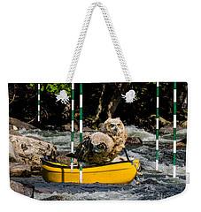 Owlets In A Canoe Weekender Tote Bag by Les Palenik