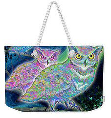 Weekender Tote Bag featuring the painting Owls At Midnight  Square by Teresa Ascone