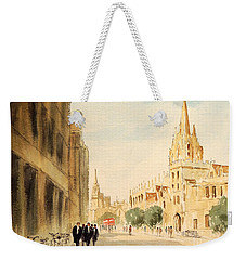 Weekender Tote Bag featuring the painting Oxford High Street by Bill Holkham