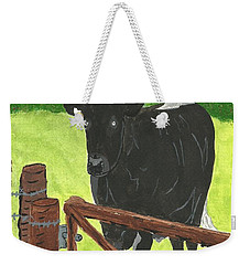 Weekender Tote Bag featuring the painting Oxleaze Bull by John Williams
