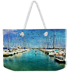 Paddle Boarder  In The Harbor Weekender Tote Bag by Eleanor Abramson