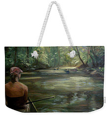 Weekender Tote Bag featuring the painting Paddle Break by Donna Tuten