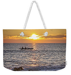 Paddlers At Sunset Portrait Weekender Tote Bag