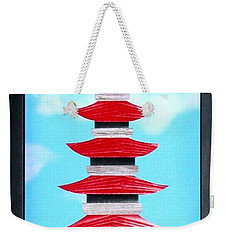 Weekender Tote Bag featuring the mixed media Pagoda by Ron Davidson