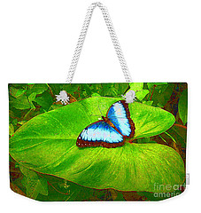 Painted Blue Morpho Weekender Tote Bag by Teresa Zieba