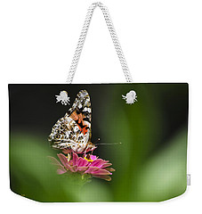 Weekender Tote Bag featuring the photograph Painted Lady Butterfly At Rest by Christina Rollo
