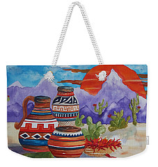 Painted Pots And Chili Peppers Weekender Tote Bag