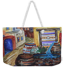 Painted Pots And Chili Peppers II  Weekender Tote Bag by Ellen Levinson