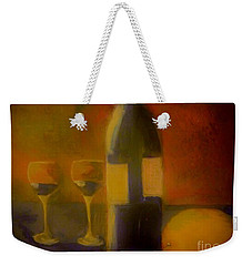 Weekender Tote Bag featuring the painting Painting And Wine by Lisa Kaiser