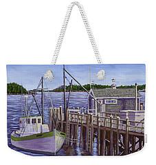 Fishing Boat Docked In Boothbay Harbor Maine Weekender Tote Bag