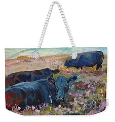 Painting Of Three Black Cows In Landscape Without Sky Weekender Tote Bag