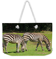 Weekender Tote Bag featuring the photograph Pair Of Zebras by Charles Beeler
