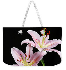 Pale Pink Asiatic Lilies Weekender Tote Bag by Judy Whitton