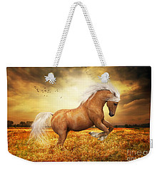 Weekender Tote Bag featuring the painting Palomino Horse Sundance  by Shanina Conway