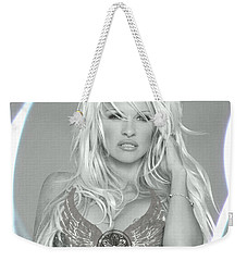 Weekender Tote Bag featuring the digital art Pamela Anderson - Angel Rays Of Light by Absinthe Art By Michelle LeAnn Scott