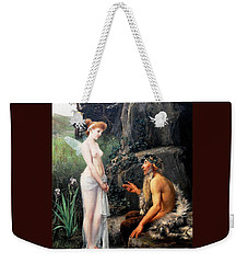 Weekender Tote Bag featuring the painting Pan Consoling Psyche by Pg Reproductions