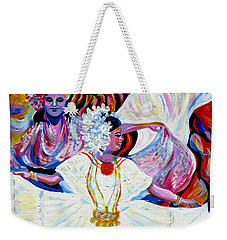 Weekender Tote Bag featuring the painting Panama Carnival. Fiesta by Anna  Duyunova