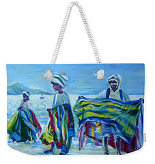 Weekender Tote Bag featuring the painting Panama.beach Market by Anna  Duyunova