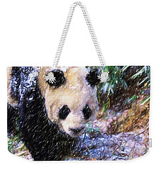 Weekender Tote Bag featuring the painting Panda Bear Walking In Forest by Lanjee Chee