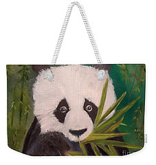 Weekender Tote Bag featuring the painting Panda by Jenny Lee