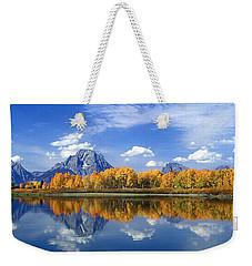 Panorama Fall Morning At Oxbow Bend Grand Tetons National Park Weekender Tote Bag