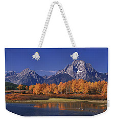 Weekender Tote Bag featuring the photograph Panorama Fall Morning Oxbow Bend Grand Tetons National Park Wyoming by Dave Welling
