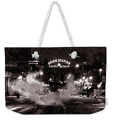 Panorama Of Denver Union Station During Snow Storm Weekender Tote Bag