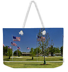 Weekender Tote Bag featuring the photograph Panorama Of Flags - Veterans Memorial Park by Allen Sheffield
