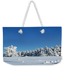 Panorama With Trees Covered With Snow In A Sunny Winter Day Weekender Tote Bag