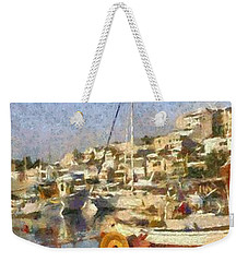 Panoramic Painting Of Mikrolimano Port Weekender Tote Bag