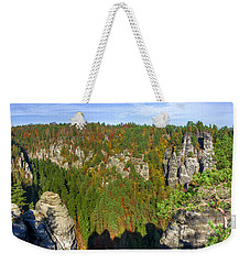 Panoramic View Of The Elbe Sandstone Mountains Weekender Tote Bag
