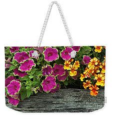 Pansies And Petunias Weekender Tote Bag by Patricia Strand