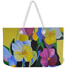 Pansies Weekender Tote Bag by Donna Blossom