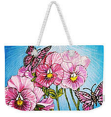 Pansy Pinwheels And The Magical Butterflies With Blue Skies Weekender Tote Bag