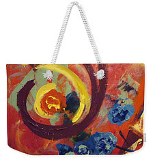 Weekender Tote Bag featuring the painting Pansymania by Donna Tuten