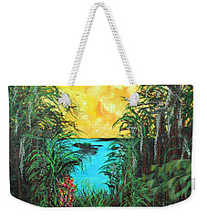 Weekender Tote Bag featuring the painting Panther Island In The Bayou by Alys Caviness-Gober