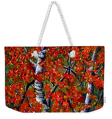 Paper White Birch Reflections Weekender Tote Bag by Janine Riley