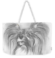 Weekender Tote Bag featuring the drawing Papillon by Paul Davenport